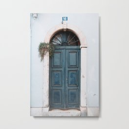 Old Blue Door with Light Blue Wall in Alfama in Lisbon, Portugal | Travel Photography | Metal Print