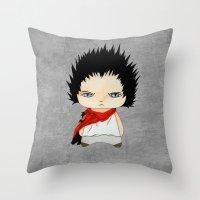 akira Throw Pillows featuring A Boy - Tetsuo (Akira) by Christophe Chiozzi