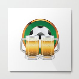 Beer glasses and Soccer Ball in green circle Metal Print