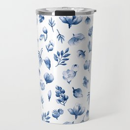 Blue & White Floral Pattern Travel Mug