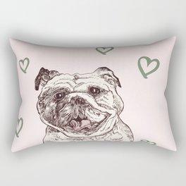 Happy Bulldog Rectangular Pillow