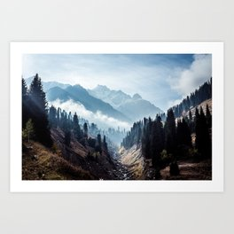 VALLEY - MOUNTAINS - TREES - RIVER - PHOTOGRAPHY - LANDSCAPE Art Print