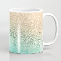 aqua Mugs featuring GOLD AQUA by Monika Strigel