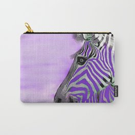 Zebra Purple and White Carry-All Pouch