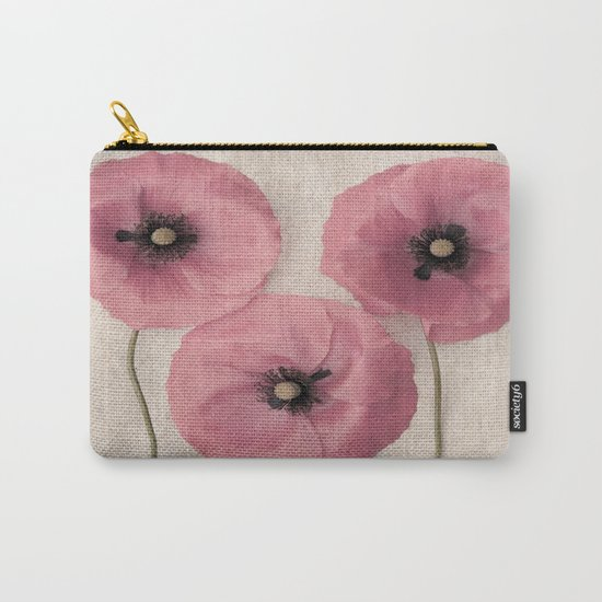 Three Pink Poppies Carry-All Pouch