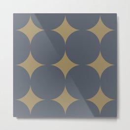 FOSSIL simple caramel and indigo design Metal Print