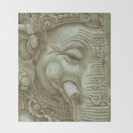 Ganesh green Throw Blanket