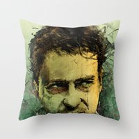 actor Throw Pillows featuring Schizo - Edward Norton by Fresh Doodle - JP Valderrama