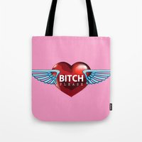 bitch Tote Bags featuring BITCH by FabLife