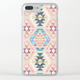 Woven Textured Pastel Kilim Pattern Clear iPhone Case