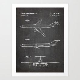 Boeing 777 Airliner Patent - 777 Airplane Art - Black Chalkboard Art Print