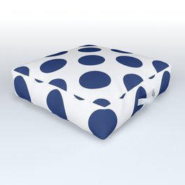 Navy Large Polka Dots Pattern Outdoor Floor Cushion