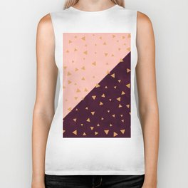 Gold hand painted triangles on color block blush burgundy color block Biker Tank