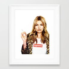 Kate Moss, Face, Lips, Fashion girl, Woman, Model, Fashion art, Photo, Minimal Framed Art Print