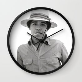 obama pose smoked Wall Clock