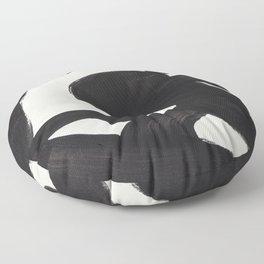 Mid Century Modern Minimalist Abstract Art Brush Strokes Black & White Ink Art Maze Floor Pillow