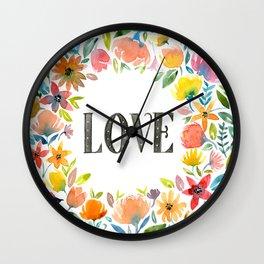 Watercolor flowers, LOVE Wall Clock