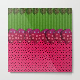 """Spring and summer strawberries paper"" Metal Print"