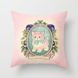 Kitschy Pink Kitten Throw Pillow
