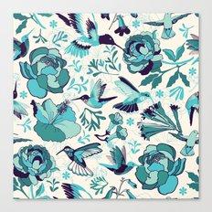 Hummingbird summerdance, Blue Canvas Print