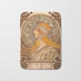 Zodiac by Alphonse Mucha, 1896 Bath Mat