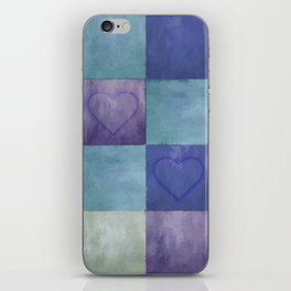 Blue Tiles with Hearts iPhone Skin