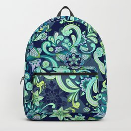 Fresh Mint and Navy Doodle Backpack