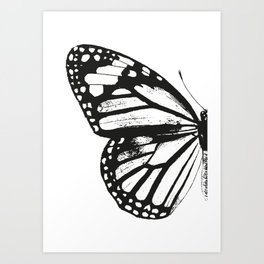 Monarch Butterfly | Left Butterfly Wing | Vintage Butterflies | Black and White | Art Print