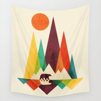 outdoor Wall Tapestries featuring Bear In Whimsical Wild by Picomodi