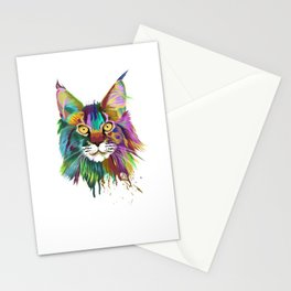 Splash Maine coon Cat Stationery Cards