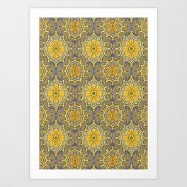 Folk Flower, Bohemian Arabesque Pattern Golden Grey Art Print