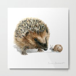 """Close Encounter"" painting of a Hedgehog and Snail by Teresa Thompson Metal Print"