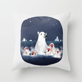 Global warming polar bear Throw Pillow