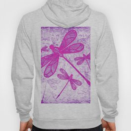 Hot pink lace dragonflies on texture Hoody