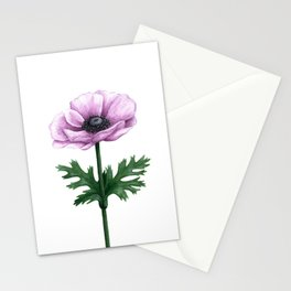 Pink Anemone Flower Painting Stationery Cards