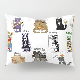 Science cats. History of great discoveries. Schrödinger cat, Einstein. Physics, chemistry etc Pillow Sham
