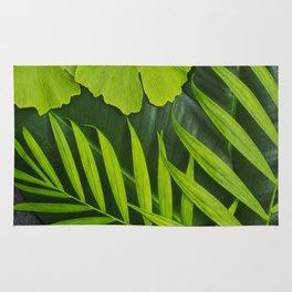 Fresh Green Tropical Palm and Gingko Leaf Rug
