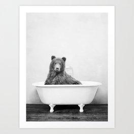 Bear in a Vintage Bathtub (bw) Art Print