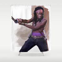 the walking dead Shower Curtains featuring The Walking Dead - Mishonne by Vito Fabrizio Brugnola