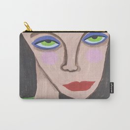 Abstract Portrait Green Eyed High Society Lady Outsider Artist Carry-All Pouch