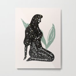 Lady Universe Glitter Metal Print