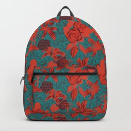Linocut look in blue with roses Backpack