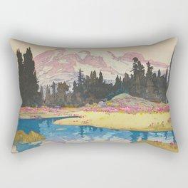 Mount Rainier Vintage Beautiful Japanese Woodblock Print Hiroshi Yoshida Rectangular Pillow