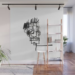 A vectorised and reworked Basquiat notebook sketch Wall Mural