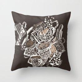 Teacup extravaganzza. Illustration wall art Throw Pillow