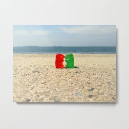 Gummy Bear Beach Kiss Metal Print