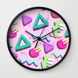 Pastel Pink 80s Print Pattern Wall Clock