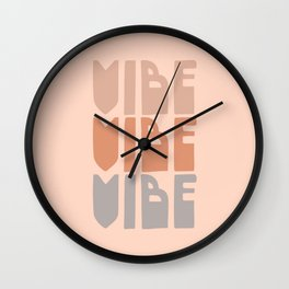 Vibe Vibe Vibe - Retro Typography in Blush and Lavender Wall Clock