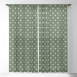 Small White Polka Dot Hearts on Dark Forest Green Sheer Curtain