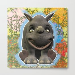 Grinning Young Rhino Metal Print